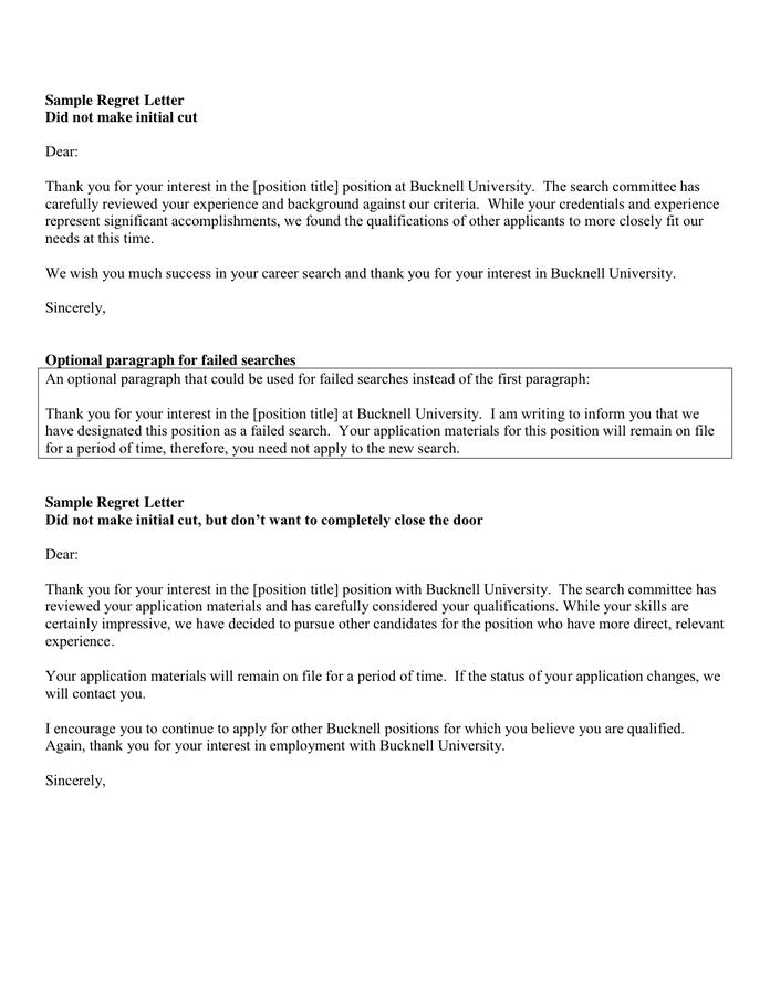 Employment Rejection Letter Samples from static.dexform.com