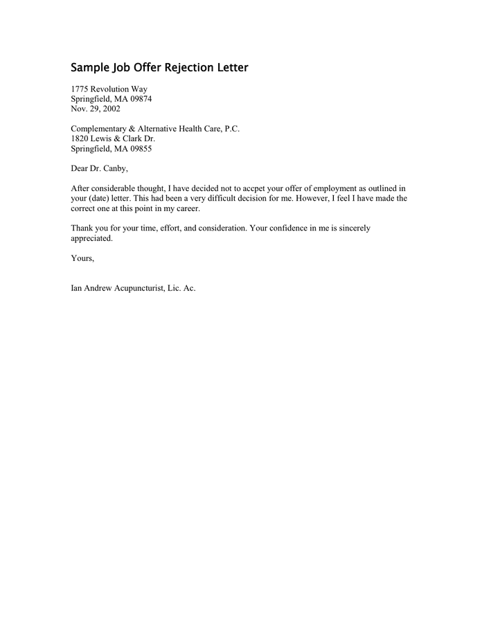 denial letter for job sample rejection letter for applicant 21345