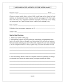 Newspaper article worksheet page 1 preview