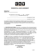 Residential lease agreement page 1 preview