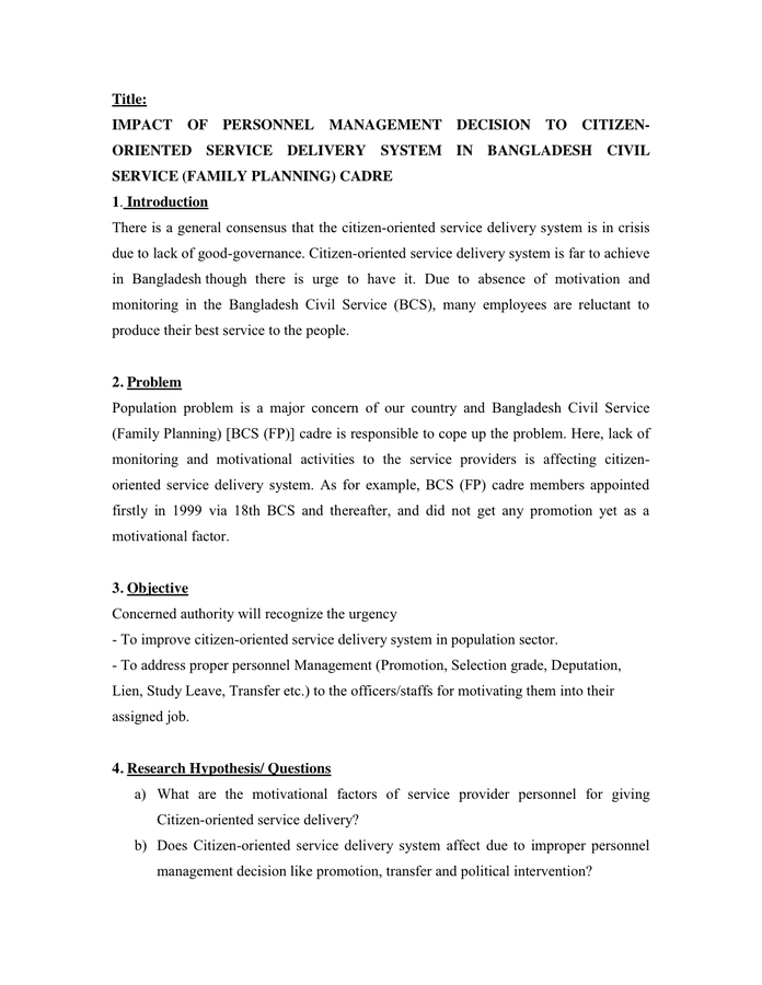 research proposal service delivery