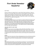 Kindergarten November Newsletter page 1 preview