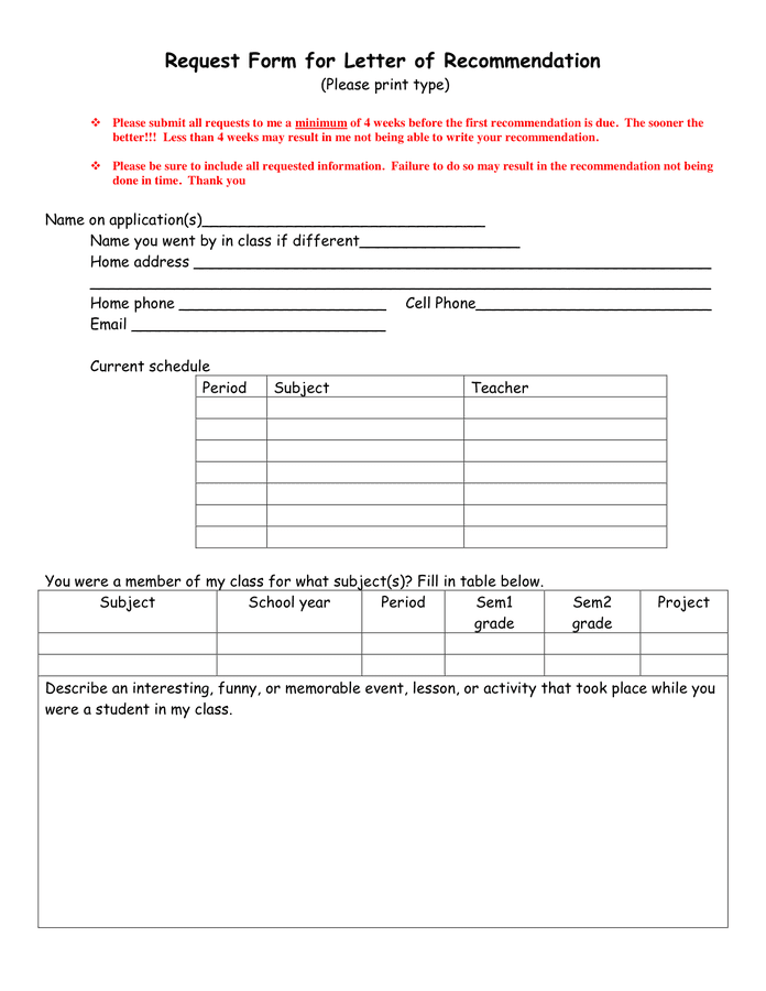 Request Form For Letter Of Recommendation In Word And Pdf Formats