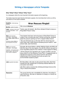 Writing a Newspaper article Template page 1 preview