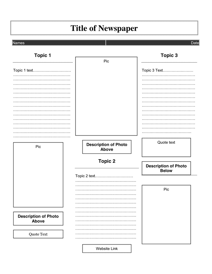 Newspaper Article Template In Word And Pdf Formats