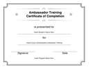 Ambassador Training Certificate of Completion page 1 preview