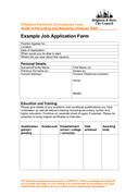 Example Job Application Form page 1 preview