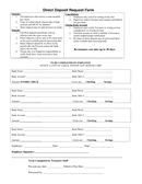 Direct Deposit Request Form page 1 preview