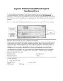 Direct Deposit Enrollment Form page 1 preview