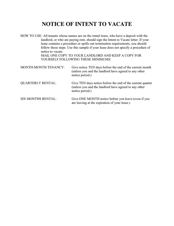 intent to vacate letter notice of intent to vacate in word and pdf formats 15046