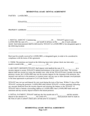 Residential lease / rental agreement page 1 preview