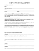 Photo/interview release form page 1 preview