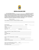 VYSA Medical Release Form page 1 preview