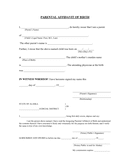 Parental affidavit of birth page 1 preview