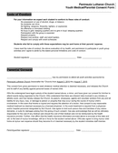 Youth Medical/Parental Consent Form page 2 preview