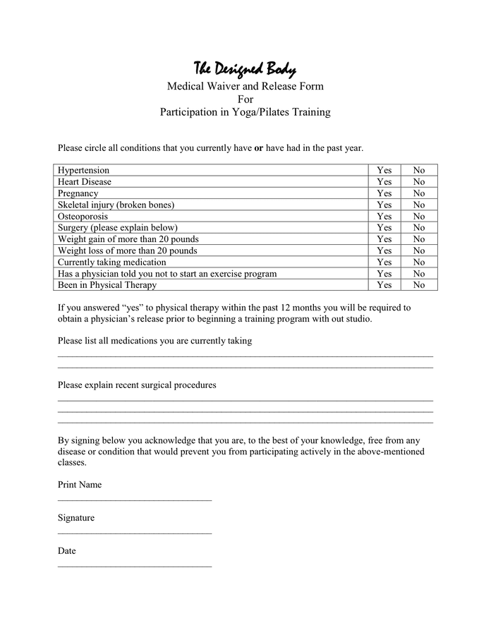 Medical Waiver And Release Form In Word And Pdf Formats
