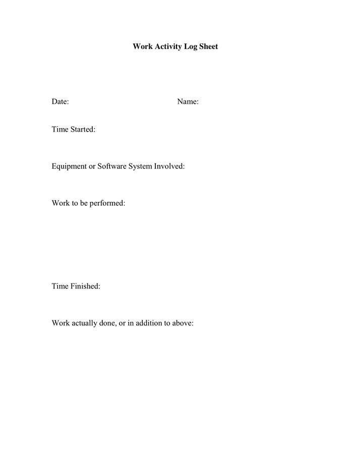 Work Activity Log Sheet page 1