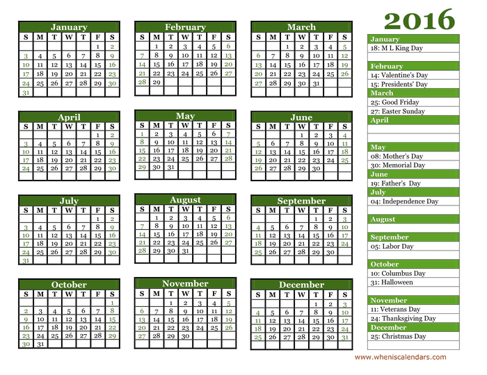 2016 Yearly Calendar preview