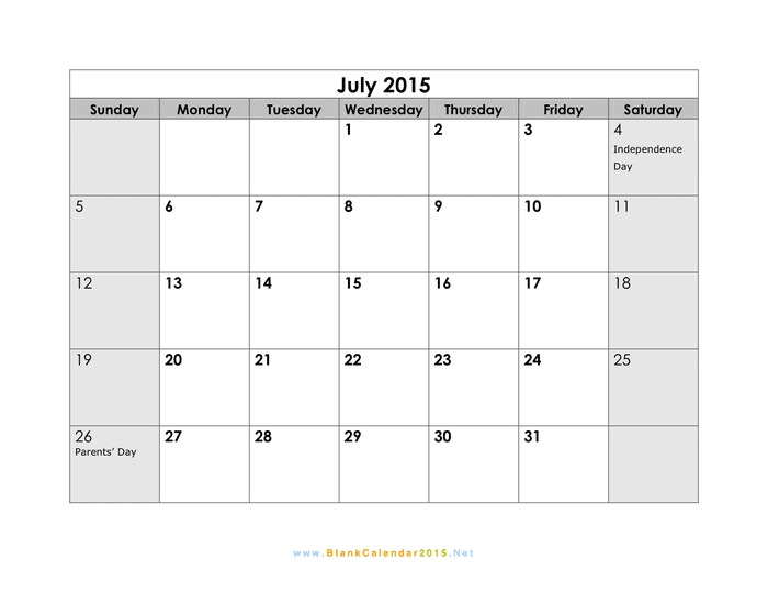 July 2015 Calendar preview