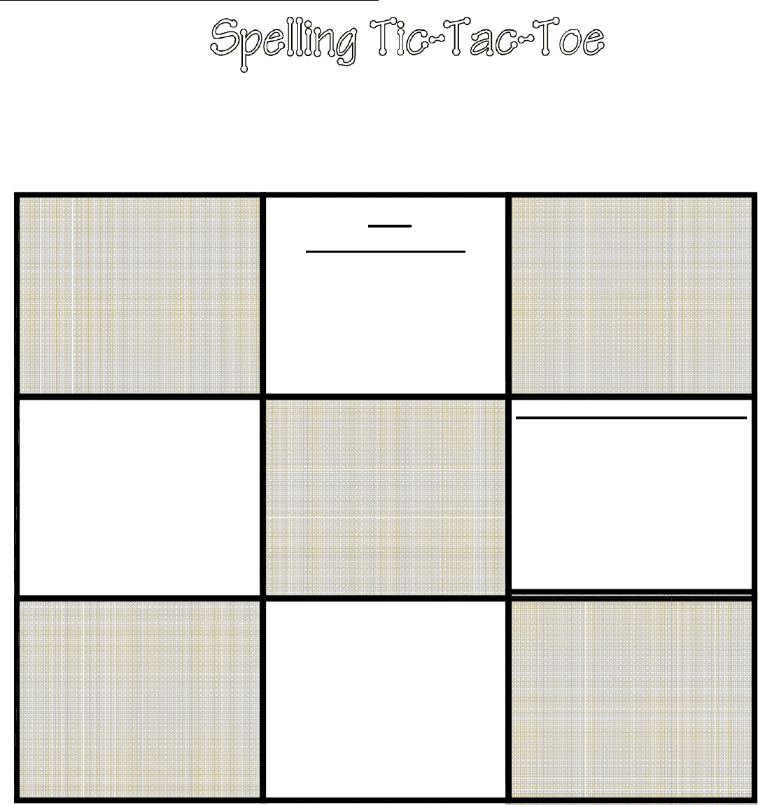 Tic Tac Toe Template in Word and Pdf formats Intended For Tic Tac Toe Template Word