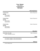 Basic Resume Template Format 2 page 1 preview