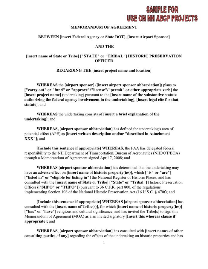 Memorandum Of Agreement In Word And Pdf Formats