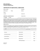 Certificate of Substantial Completion page 1 preview