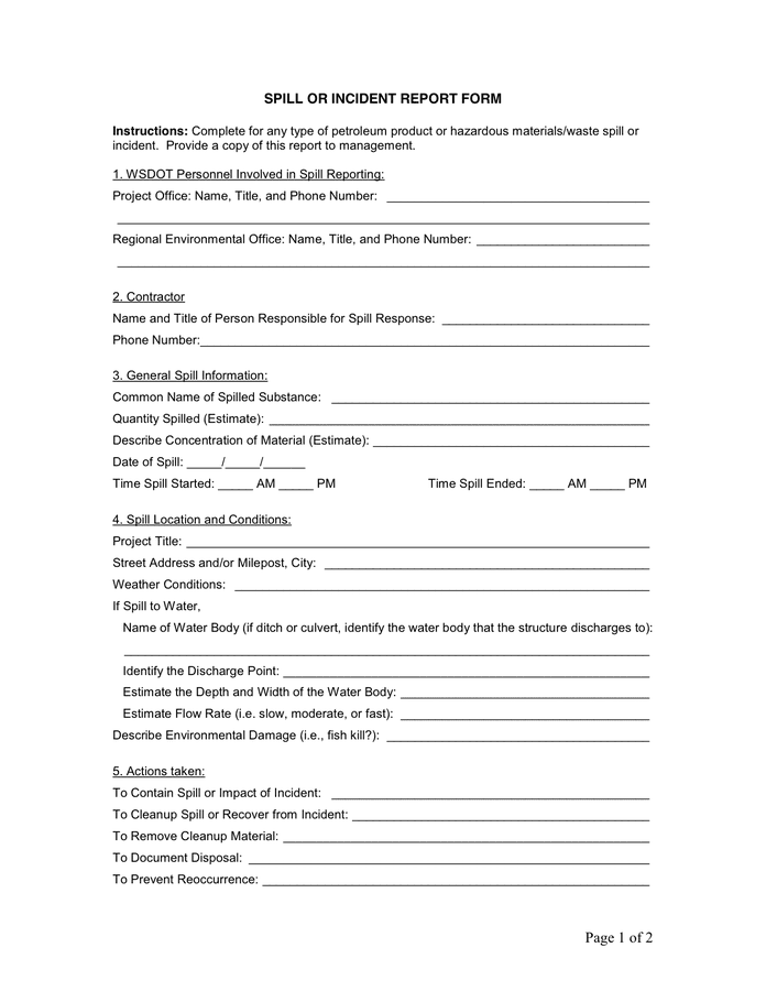 Spill Or Incident Report Form In Word And Pdf Formats