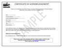 Annual Vendor Training Certificate page 1 preview