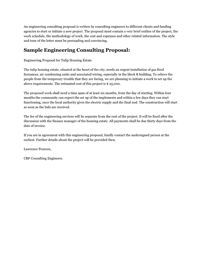Sample Engineering Consulting Proposal In Word And Pdf Formats