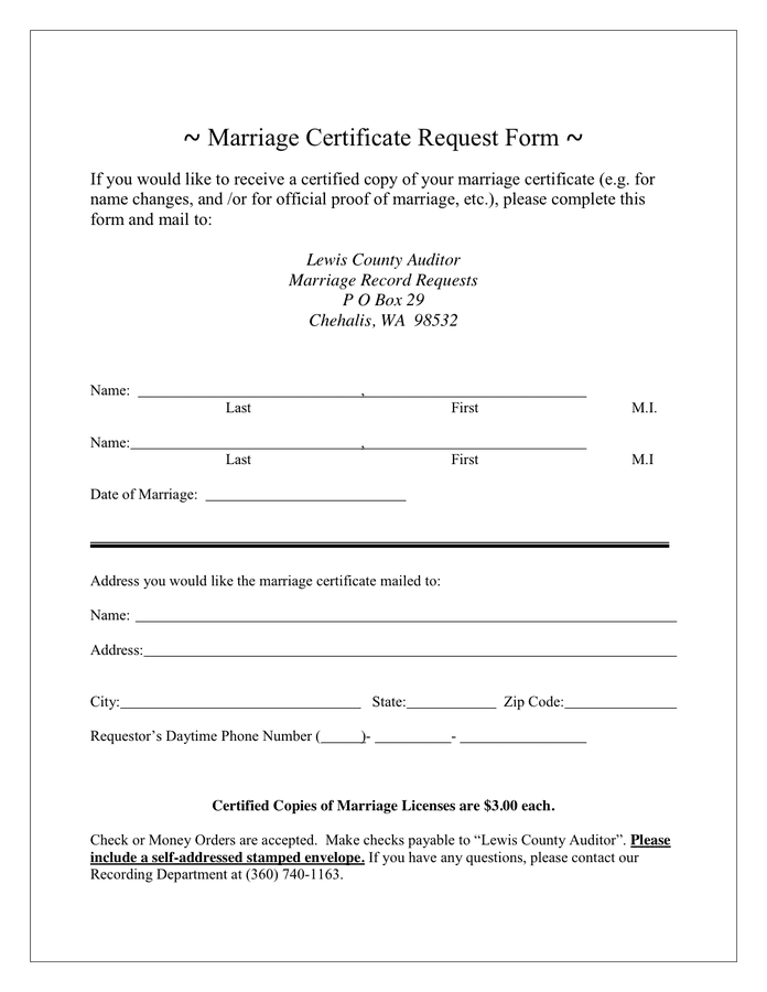 Marriage Certificate Request Form preview