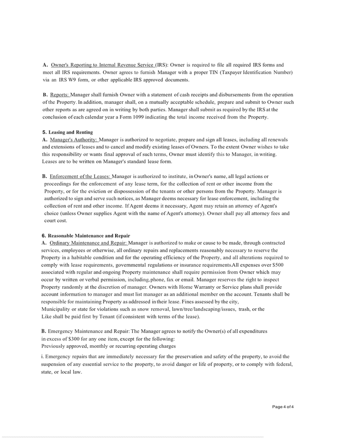 PROPERTY MANAGEMENT AGREEMENT page 4