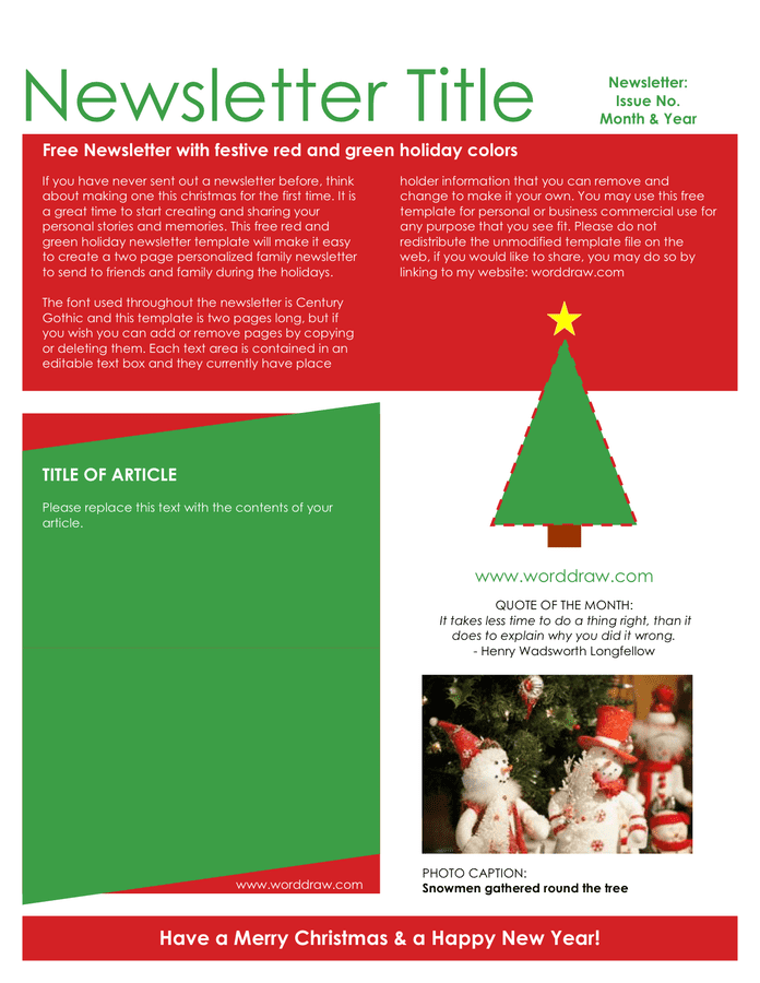 Holiday newsletter template preview