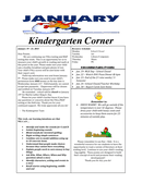 Sample Kindergarten Newsletter page 1 preview