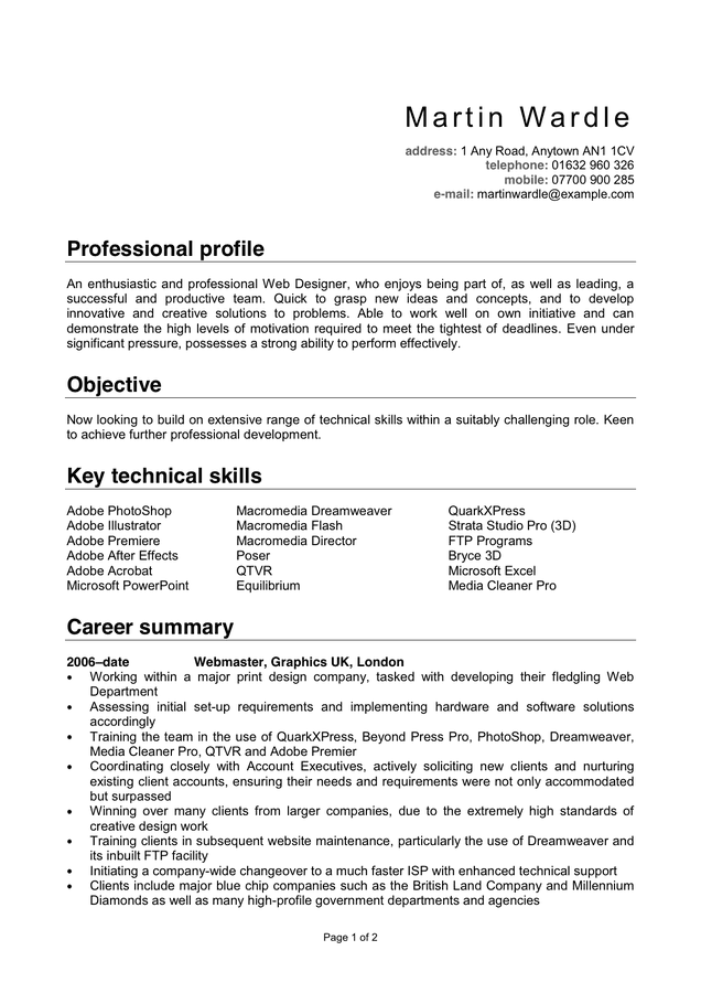 Sample CV Template in Word and Pdf formats