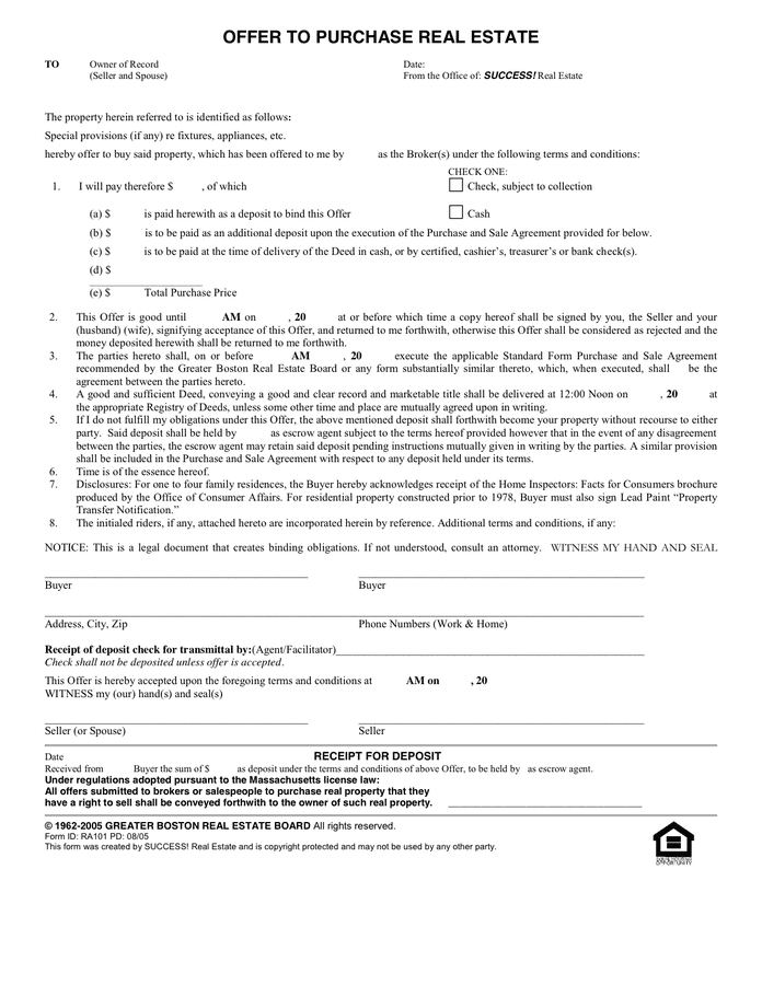 Offer to Purchase Real Estate Form - download free ...