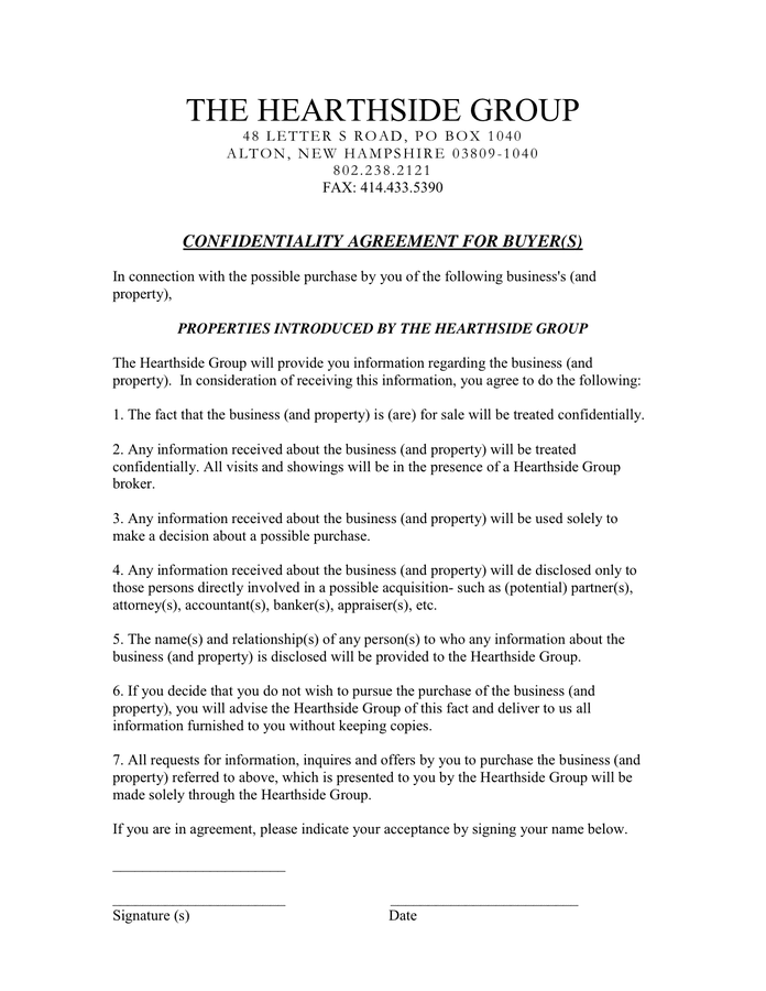 CONFIDENTIALITY AGREEMENT FOR BUYER page 1