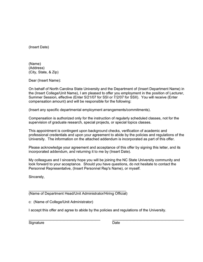 DRAFT SAMPLE APPOINTMENT LETTER page 1