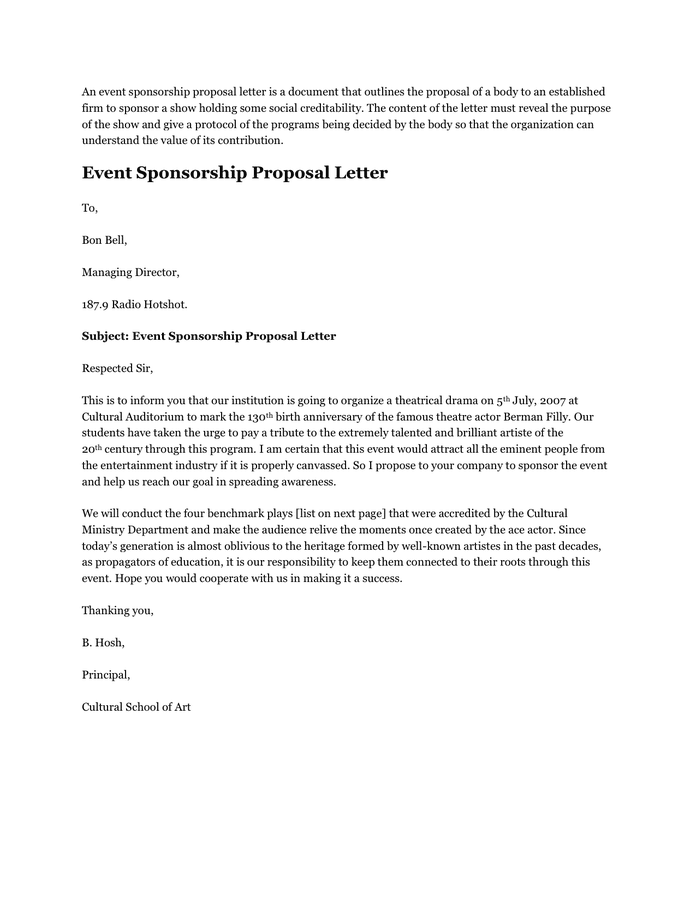 Sample Of Proposal Letter For Event Management Cover