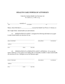 HEALTH CARE POWER OF ATTORNEY page 1 preview
