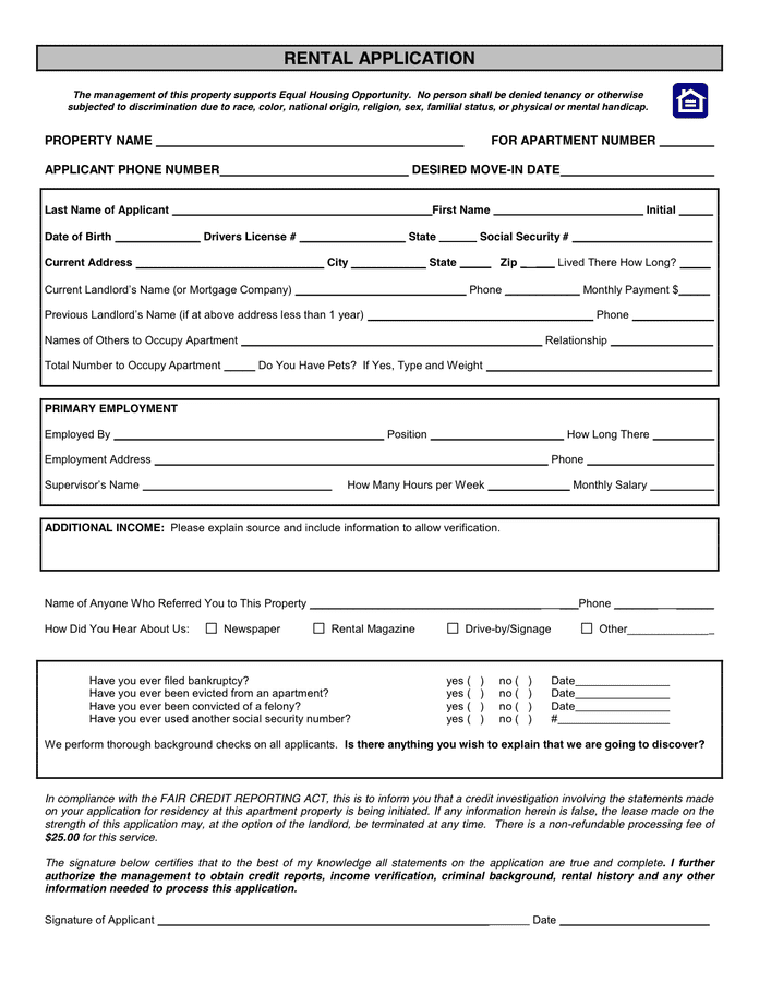 RENTAL APPLICATION Form page 1