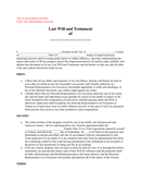 Last Will and Testament Sample page 1 preview