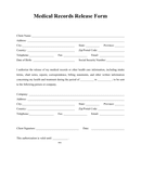 Medical Records Release Form page 1 preview
