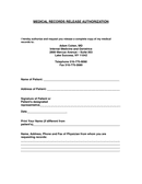 MEDICAL RECORDS RELEASE AUTHORIZATION page 1 preview