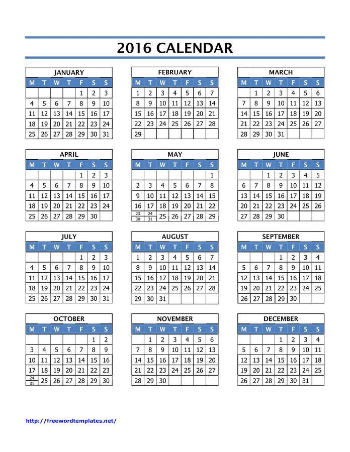 Blank 2016 Calendar Template from static.dexform.com