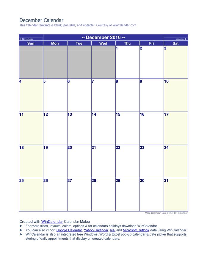 December 2016 Calendar preview