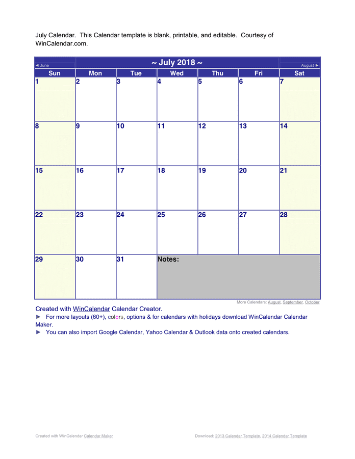 July 2018 Calendar preview