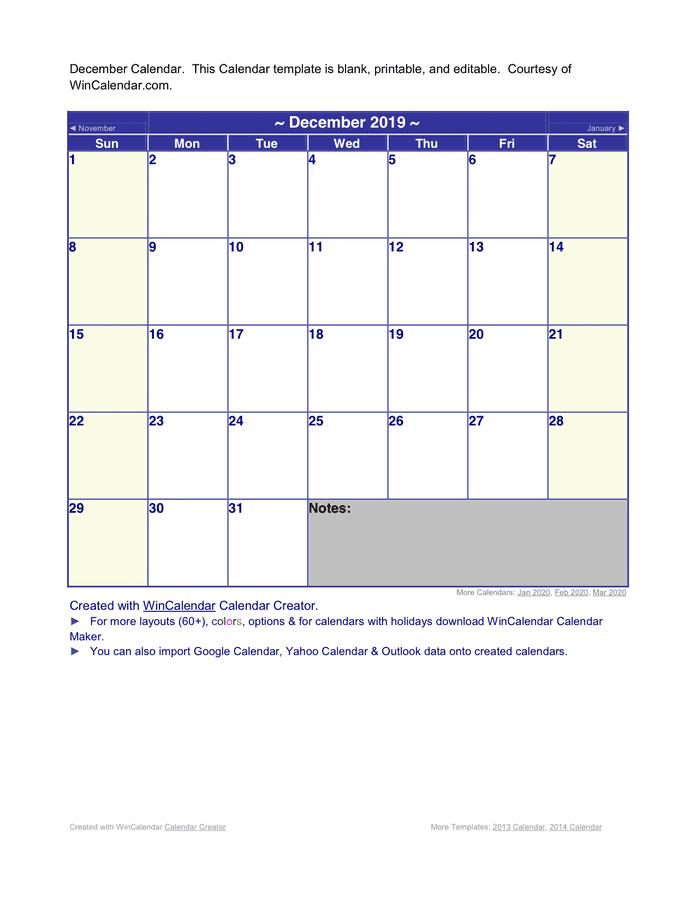 Wincalendar 2020 December December 2019 Calendar in Word and Pdf formats
