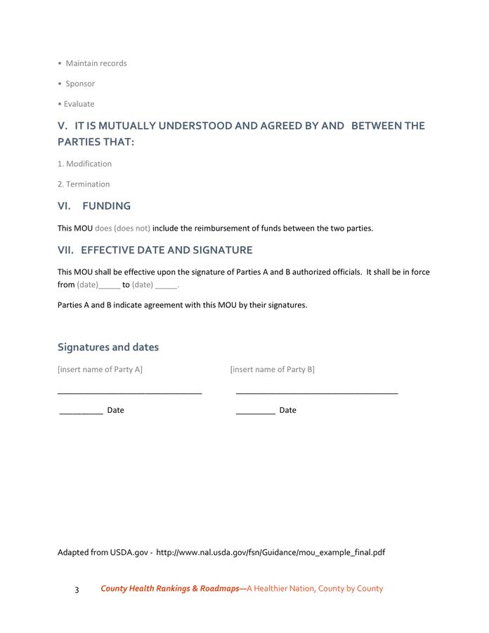 Memorandum Of Understanding Sample Template In Word And Pdf Formats Page 3 Of 3