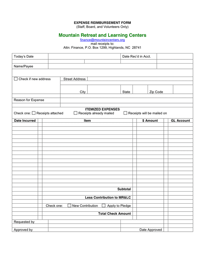 101 Sample Word Expense Reimbursement Form in Word and Pdf ...